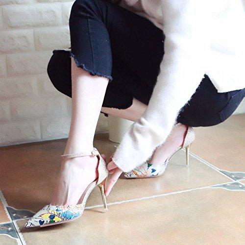 ZHUDJ Di Alti Donna Da E Tacchi La Golden Molla Scarpe Sfumature OrzxqnO1wt
