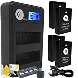 DOT-01 4X Brand 1650 mAh Replacement Nikon EN-EL14A / EN-EL14 Batteries and Smart LCD Display Dual USB Charger for Nikon P7100 Digital Camera and Nikon ENEL14A Accessory Bundle