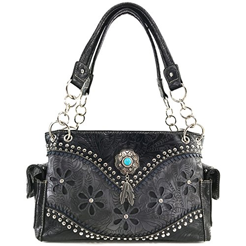 Purse Stone Concealed Justin Studs Black Concho West Turquoise Feathers Tooled Carry Western Handbag Handbag Only qq8EP0wr