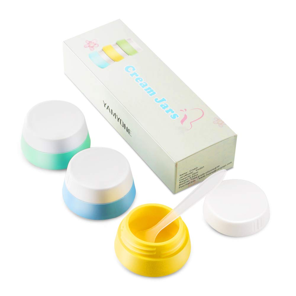 Travel Accessories Bottles Containers Sets, Yamyone Silicone Cream Jars for toiletries, Compact Travel Size Containers with Hard Sealed Lids for Face Hand Body Cream (3 Pieces)