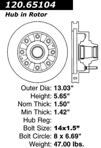Centric Parts 120.65104 Premium Brake Rotor with E-Coating