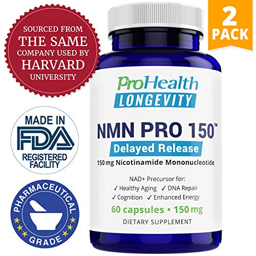 ProHealth NMN Pro Delayed Release 2-Pack 150 mg, 60 Capsules Each Nicotinamide Mononucleotide NAD Precursor Supports Anti-Aging, Longevity and Energy Non-GMO