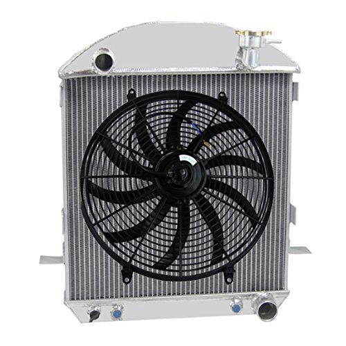 Primecooling 3 Row Aluminum Radiator w/ Fan (16 Inches Dia.) Mounting Kits for Ford Model TT/ Model T ,T-BUCKET W/ CHEVY CONFIGURATION W/ TRANS COOLER 1917-27 (Bucket Radiator T)