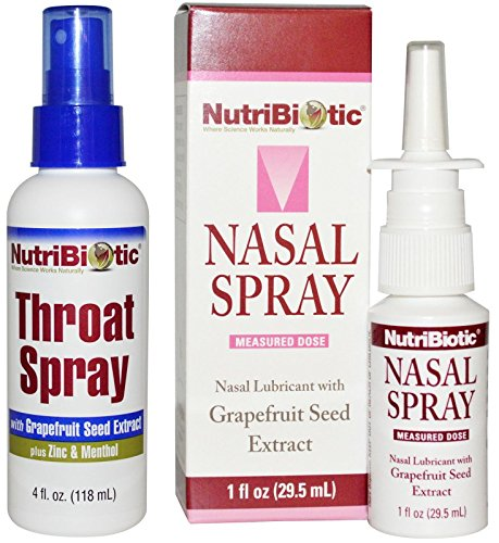 NutriBiotic Nasal Spray and Throat Spray Bundle with Grapefruit Seed Extract, Castor Oil, Stevia Extract, Slippery Elm Extract, Peppermint Oil, Aloe Vera Gel and Menthol, 1 fl. oz. and 4 oz.