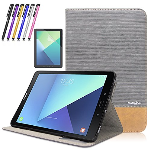 Mignova Samsung Galaxy Tab S3 9.7 case,Ultra-thin lightweight Smart Cover Case for Samsung Galaxy Tab S3 9.7-Inch Tablet w/ S Pen SM-T820 / T825 +Screen Protector Film and Stylus Pen (Grey) by Mignova