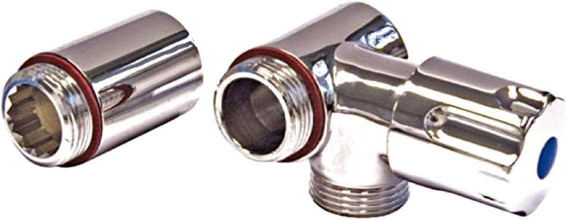 Mit R/ückflussverhinderer Zusatzventil Ger/äte-Ventil f/ür Wandbatterien Anschluss links Chrom Eckventil Ger/ätezusatzventil