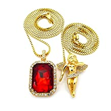 Mens Iced Out Hip Hop Gold Micro Angel Red Ruby Pendant Box Chain Necklace Set of 2