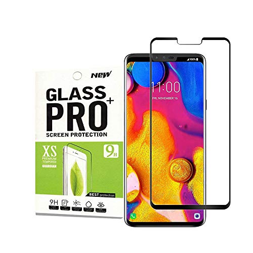 for LG V40 Tempered Glass Screen Protector,JeeBoo[Full Cover][3D Curved Glass][Anti-Scratch][Bubble Free] Tempered Glass Screen Protector for LG V40(Black)