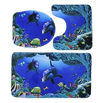 eDealMax 3 en 1 El Mundo submarino patrón doméstico Aseo tapa del inodoro cubierta de asiento