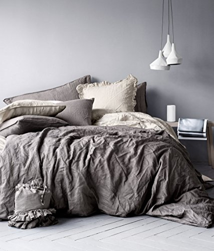 (Pure Linen Duvet Quilt Cover 3pc set Full Queen Double Genuine 100% Linen French Country Old Fashion Dark Gray)