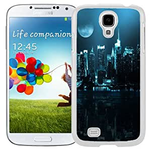 Beautiful Designed Antiskid Cover Case For Samsung Galaxy S4 I9500 i337 M919 i545 r970 l720 Phone Case With Blue City Skyline Full Moon_White Phone Case