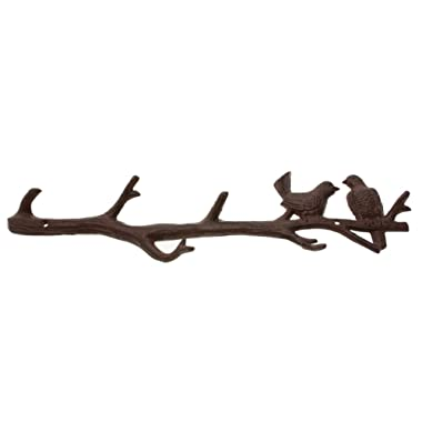Cast Iron Birds On Branch Hanger with 6 Hooks   Decorative Cast Iron Wall Hook Rack   for Coats, Hats, Keys, Towels, Clothes   18.5x2x4.5 - with Screws and Anchors by Comfify (Rust Brown)