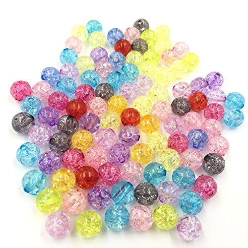 Dealglad New Fashion Mixed Color Crackle Glass Round Acrylic Beads Findings 8mm (500pcs)