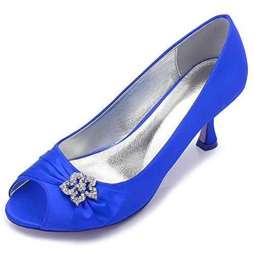 L@YC Zapatos De Boda De Las Mujeres F17061-60 CóModo Vestido De Noche De Invierno Rhinestone abierto Del Dedo Del Pie Y Del SatéN Blue