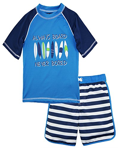 iXtreme Toddler Boys' Stripe Rash Guard Set, Navy, 4T
