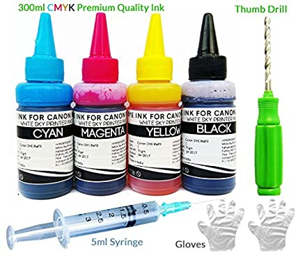 White Sky Refill Ink Kit for Canon Printers 300 ml with Thumb Drill for PG  740, CL 741, PG745, CL746 with 4 Syringes