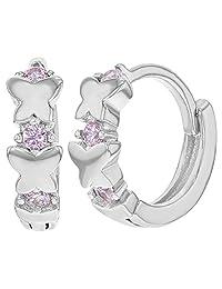 """925 Sterling Silver Butterfly Pink CZ Small Hoop Huggie Girls Earrings 0.39"""""""