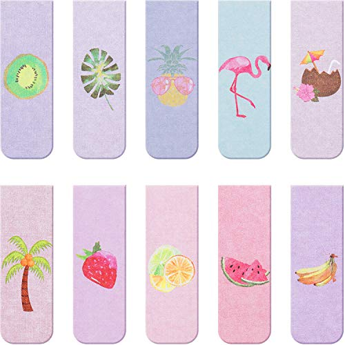 10 Pieces Magnetic Bookmarks Magnet Page Markers Assorted Book Markers Set for Students Reading, Fruit