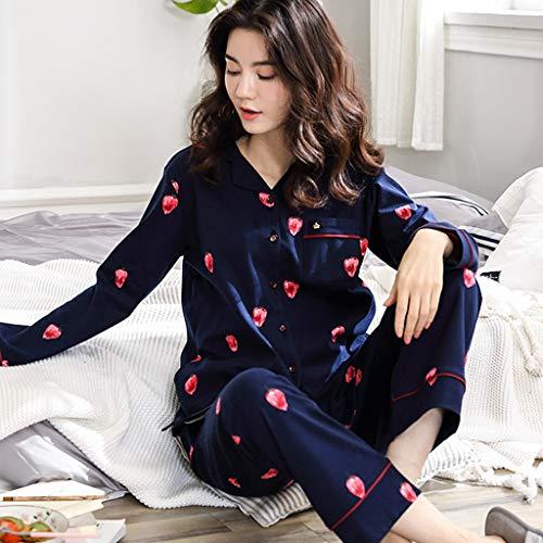 Otoño De Pijamas Dormir Hogar Suelto Size Para Conjunto El color Xxl Blue Muebles Algodón Manga Larga Ropa Blue IRqYRw