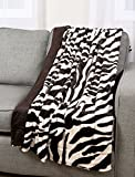 Zebra Print Plush Faux Fur Micromink Brown & White Super Soft Fleece Throw Brand New Reversible Adults Comfortable Cover Blanket 50x60-inch