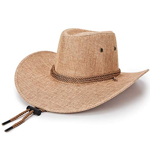 Spring and Summer Hats, Male Hemp Material, Large Rim Shade, Sunscreen, Sunhat, Western Cowboy Hat, Horse-Riding Hat, Male (Beige) ()