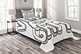 Lunarable Boy's Room Bedspread Set Twin Size, Doodle Style Video Games Typography Design with a Controller Sketch Artwork, Decorative Quilted 2 Piece Coverlet Set with Pillow Sham, Black White