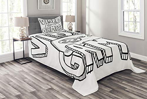 (Lunarable Boy's Room Bedspread Set Twin Size, Doodle Style Video Games Typography Design with a Controller Sketch Artwork, Decorative Quilted 2 Piece Coverlet Set with Pillow Sham, Black White)