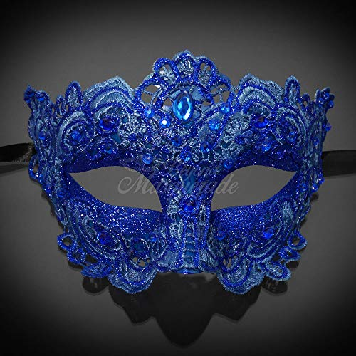 MasqueradeParty Brocade Lace Venetian Masquerade Mask with Pearls - Royal Blue ()
