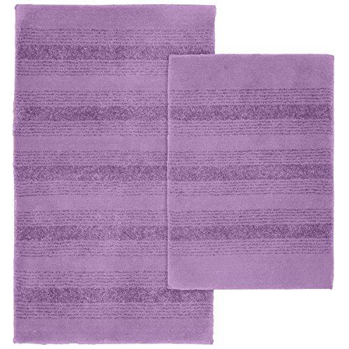 Purple Bath Rug Sets: Garland Rug 2-Piece Essence Nylon Washable Bathroom Rug