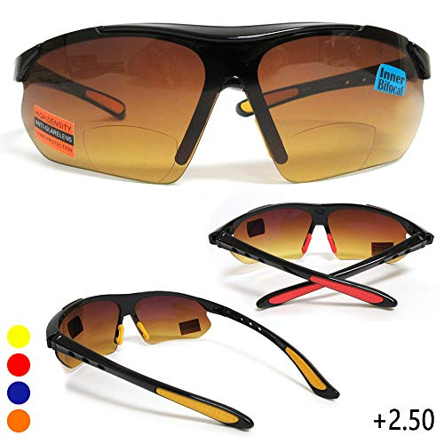 (HD Amber Anti Glare Lens Inner Bifocal Sun Reader Sunglasses Mens Womens +2.50)