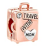 Lifequeen Travel with Mom Charms Suitcase Charm Beads for Snake Chain Bracelets (Rose Gold Plated)