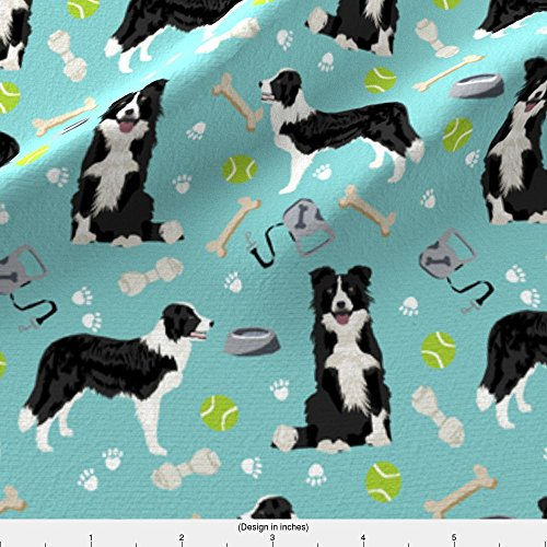 Collie Fleece - Spoonflower Border Collie Fabric Border Collie Toys Tennis Balls Light Blue Fabric by Petfriendly Printed on Fleece Fabric by the Yard
