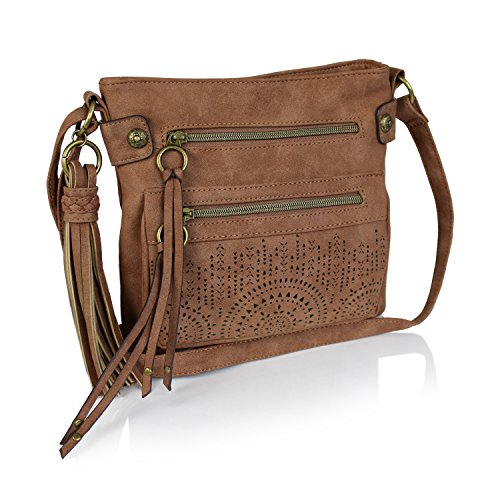 Carmel Bohemian Laser Cut Faux Suede Perforated Crossbody Bag with Large Tassel