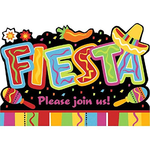 Amscan Fiesta Fun Cinco De Mayo Fiesta Party Invitations Kit (8 Piece), Multi Color, 8.1 x 4.8