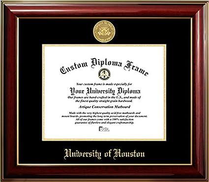 Amazon.com - University of Houston 22K Gold Medallion Diploma Frame ...