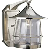 Progress Lighting P5764-09 1-Light Wall Lantern with Wire Frames and Clear Seeded Glass, Brushed Nickel For Sale