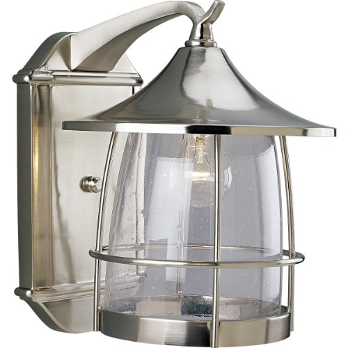 Prairie Style Outdoor Lighting - Progress Lighting P5764-09 1-Light Wall Lantern with Wire Frames and Clear Seeded Glass, Brushed Nickel