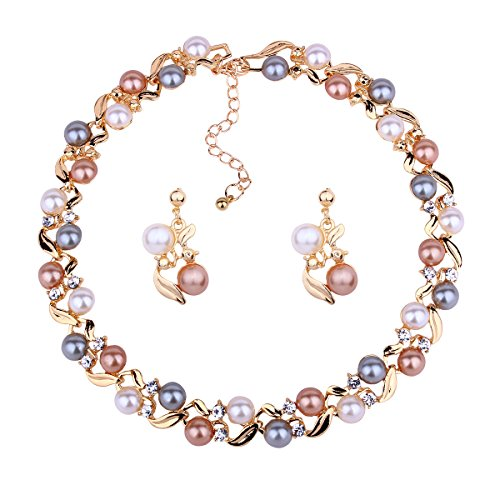 DiLiCa Women Statement Simulated Faux Pearl Bib Choker Necklace and Dangle Earring Jewelry Set - Necklace Gold Pearls Set