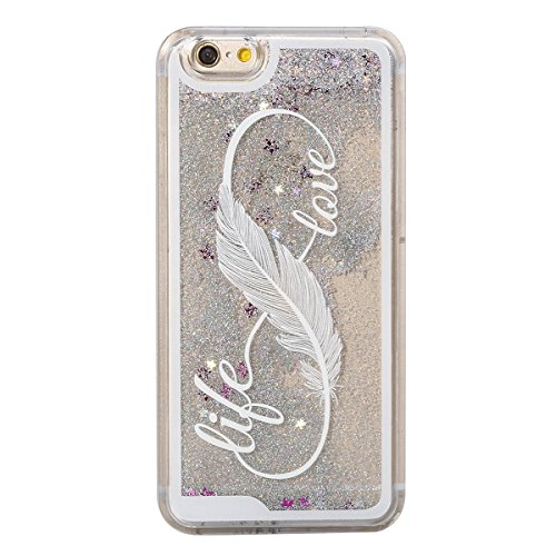 Hard Silver Case Stars Protective - IKASEFU Hard Clear Case for iPhone 6 Plus/6S Plus,Novelty 3D Creative[Flowing Glitter Silver Stars]Feather Hard Transparent Liquid Protective Case Cover for iPhone 6 Plus/6S Plus 5.5