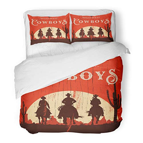 Emvency Decor Duvet Cover Set Full/Queen Size Black Western Silhouette of Cowboys Riding Horses on Wooden Sign Wild West 3 Piece Brushed Microfiber Fabric Print Bedding Set Cover ()