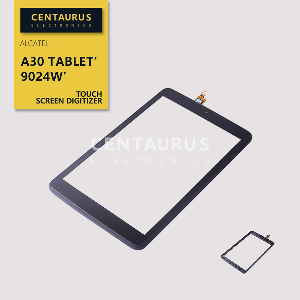 CENTAURUS Replacement for Alcatel A30 Tablet Front Touch Screen Digitizer with Frame (NO LCD) Part Compatible Alcatel A30 Tablet 2017 9024W T-Mobile 8.0 inch