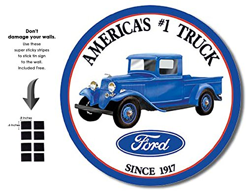 Shop72 - Tin Sign Ford Trucks - Round Vintage Tin Sign Retro Metal - Ford Sign Tin Round Trucks