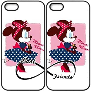 JiHuaiGu (TM) iPhone 5 5S funda Negro BFF Best Friends Disney Mickey Mouse personalizado temático iPhone 5 5S funda GO6840