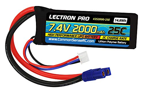 (Lectron Pro 7.4V 2000mAh 25C Lipo Battery with EC3 Connector for 1/16 & 1/18 Scale Cars & Trucks)