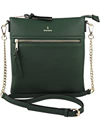 Vegan Double-Zipper Crossbody Bag with Chain Strap