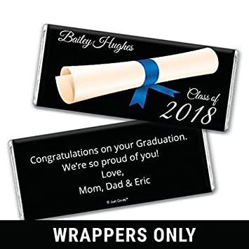 personalized hersheys chocolate bar wrappers graduation favors diploma in the air 25 wrappers