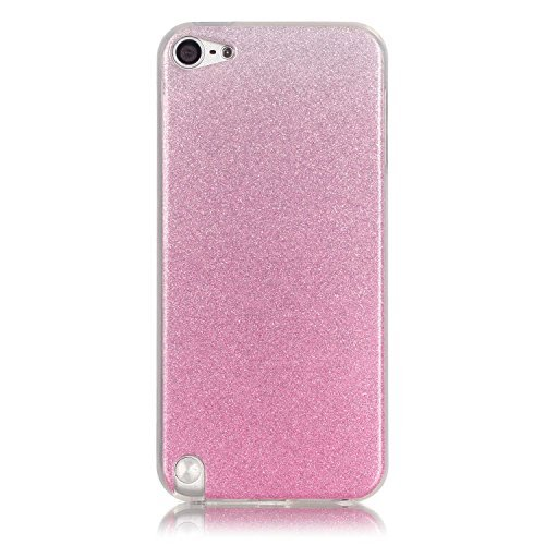 iPod Touch 6 Case, iPod Touch 5 Case Aeeque Ultra Slim Fit Glitter Bling Gradual Cover Bumper Soft TPU Silicone Rubber Shock Absorbing Protective Case for iPod Touch 5th/6th Generation - Pink ()