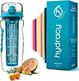 Hydracy Fruit Infuser Water Bottle - 32 Oz Sports Bottle with Full Length Infusion Rod, Time Mark and Insulating Sleeve Combo Set + 27 Fruit Infused Water Recipes eBook Gift - Aqua Blue