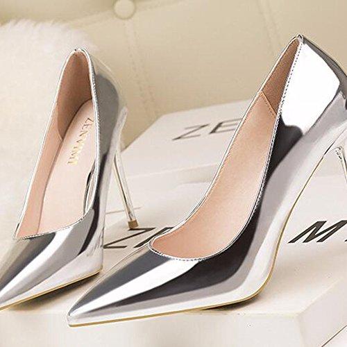 De Fermé Haut Simple Court Boîte Peu Travail Sexy Talon Pompes Bouche Mode Stiletto Chaussures Métal Shoes Profonde Mesdames Silver Toe Nuit tAqfUwx