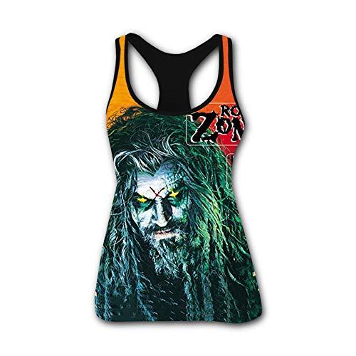 GGpanhs 3D Women's Blouse Racerback T-Shirt Amazing-Rob-Zombie Ladies Shoulder Tank Top Summer Vest Black ()